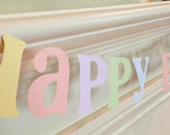 Happy Birthday Garland Banner Softest Pastels