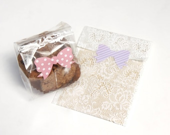 Cute Striped Bow or Polkadot Bow, Pastel/Colorful/Multicolor Bow Stickers/Ribbon Stickers, Size 13x17mm  - Choose one style