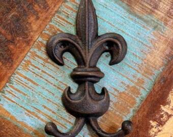 Fleur de lis Hook Rustic Distressed Cast Iron (YOUR COLOR CHOICE)