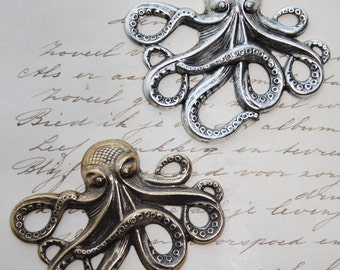 Silver or Brass Octopus Steampunk Nautical Cthulu Stamping Jewelry making Scrapbook
