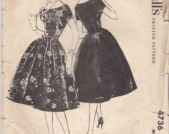 1950's Sewing Pattern - McCall's 4736 Dress with bell shaped skirt  Size 14 complete