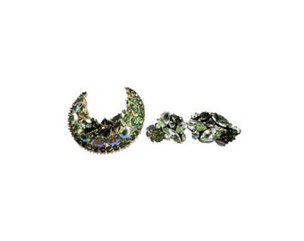 CLEARANCE Vintage Crown Trifari Jewelry - Emerald Trifari Brooch & Earring Set, Rhinestones Crescent Pin, Alfred Phillipe, Vintage Jewelry