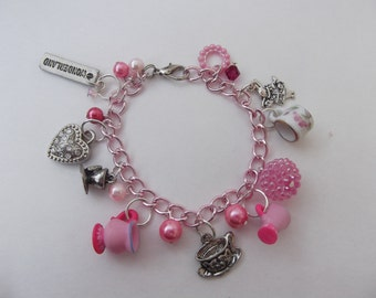 Alice in Wonderland charm bracelet pink tea party glass pearl white rabbit teacup heart handmade jewelry