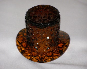 Fenton Top Hat Glass Toothpick/Salt Amber Art Glass Daisy And Button Pattern -Vintage Collectible