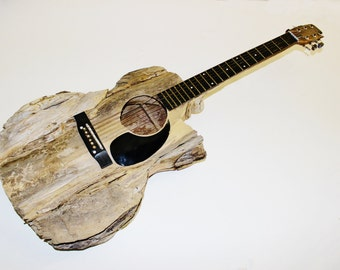 Super Spring Sale!! Musician's Special Guitar Driftwood Sculpture Life Size, Each OOAK MJ Original is Hand Pieced and Carved