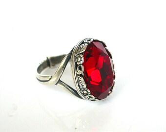 Red Solitaire Swarovski Ring Victorian Gothic Silver Ring - Victorian Gothic Jewelry