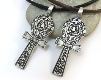 Egyptian Ankh Pendant - Large Silver Ankh Necklace - Scarab Necklace, Key of Life - Blue or Red