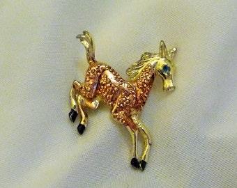 Vintage Enamel Horse Pin Cute Blue Eyed Colt