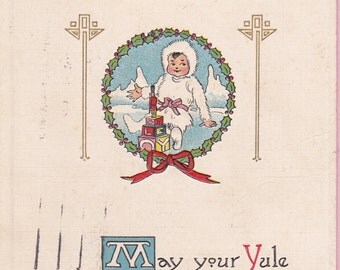 Ca. 1913 Christmas Greetings Postcard w/ Child and Toys - 537