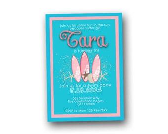 Surf invitation, beach invitation, birthday, baby shower wedding shower, digital file, printable