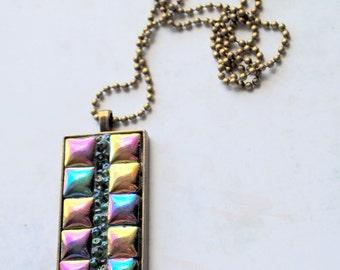 Mini Mosaic pendant, 2, one of a kind, mosaic tiles, antique brass finish, gold, purple, green, blue