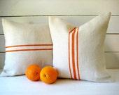 Burlap Grainsack Pillow Set with Orange Stripes / Burlap Pillow / Cottage Pillow / Farmhouse Pillow / Choose Burlap and Stripe Color