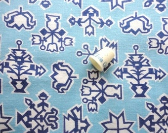blue and navy floral print vintage full feedsack fabric