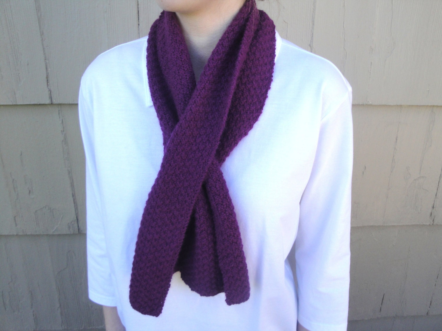 Knitting Pattern For Pull Through Scarf : Pull Through Scarf Mulberry Purple Keyhole Office Hand
