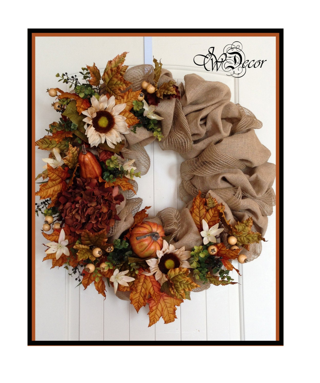 fall wreath burlap wreath autumn wreath burlap wreath by jwdecor