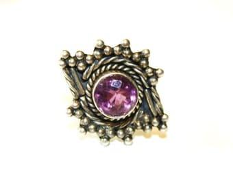 Vintage Sterling Bali Amethyst Ring Size 7