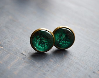 EMERALD TREE bronzed glass button ear studs