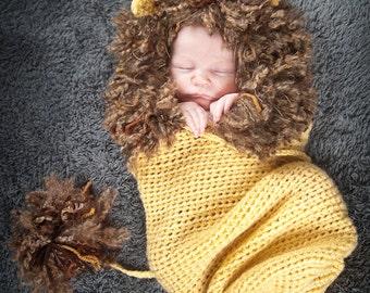 Lion Cocoon - Photography Prop, Crochet Lion, Infant Lion Yellow