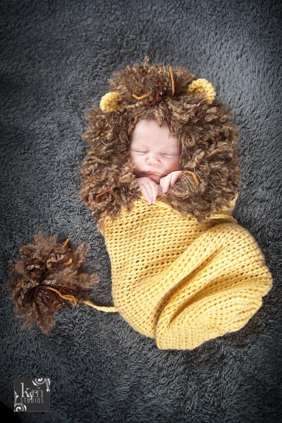 Lion Cocoon Photography Prop Crochet Lion Infant Lion