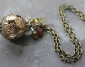 SALE Flower Orb Bohemian Brass Necklace- Antique Brass Colour with Semi-Precious Beads