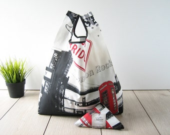 london style tote bag / urban bag / white print cotton / flag shopping bag / triangle folded bag / edge in black ribbon