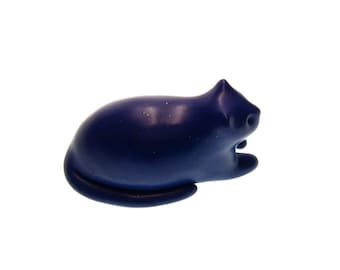 Fat Cat Herman - midnight blue with sparkles hand made OOAK figurine polymer clay laid back cool cat