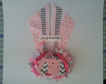 pink elephant girl baby shower pin corsage