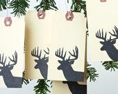 Santa's Reindeer - 10 Large Gift Tags - Woodland deer, Christmas gift tag, present, gift wrap, deer.