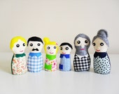 Modern Family Portrait Plush Doll Set. Grandparents, Parents & Children. Waldorf Inspired Miniature Dolls.