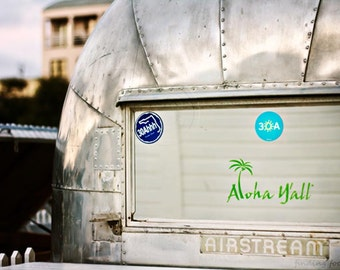 Aloha Airstream Trailer 30A Print, Seaside Food Truck Bumper Sticker Florida Beach Photo, Silver Industrial Travel Adventure 5x7 Photography