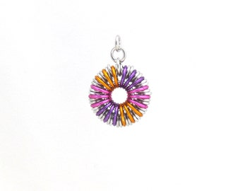 Round Chainmaille Pendant, Jump Ring Jewelry, Multicolor Pendant, Aluminum Jewelry