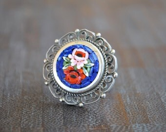 ADJUSTABLE  ITALIAN MOSAIC ring