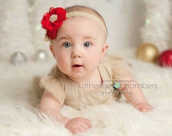 Christmas Glamour- Red and Gold headband, christmas headbands, newborn headbands, red headbands, photography prop, gold holiday headbands