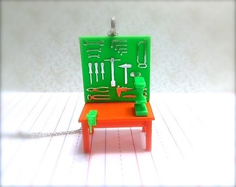 Miniature Tool Bench Necklace. Silver Chain. Builder. Crafter. Tools. Wrench. Neon Green. Orange. Fun Miniatures. Hammer. Oddities. Unique.