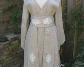 Made to order: Natural linen Star Wars inspired Jedi robe,tunic,gown wrapdress costume cosplay larp pagan  pixie SF