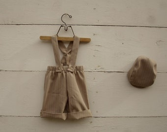 pinstripe tan 1-3yrs overalls, pinstripe overalls, tan overalls, boys overalls, adjustable overalls short or knickers length
