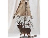 Hand Welded Elk & Tree Lamp Leather Shade Arrows Southwest Cabin