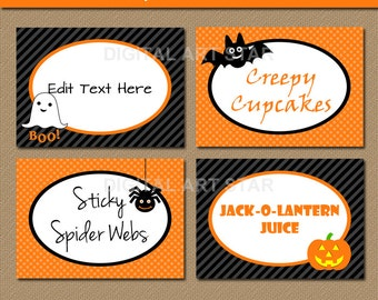 EDITABLE Halloween Candy Buffet Labels, Tent cards, DIY Food Labels, Orange Black Buffet Cards - Personalize in Adobe Reader - INSTANT