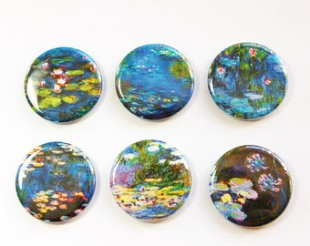 Monet Magnets, Monet paintings, Art magnets, Button magnets, blue, green, magnet set, Stocking stuffer, water lilies, gift under 10 (3258)