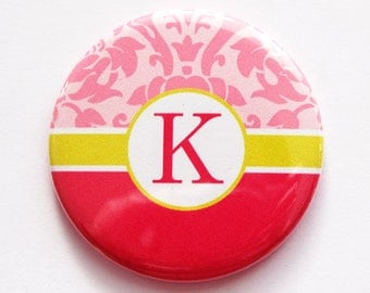 Monogram Pocket mirror, custom pocket mirror, monogram, mirror, purse mirror, bridal shower favor, bridesmaid gift, Hot Pink (3488)