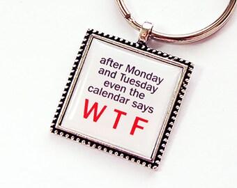 Funny Key Ring, Funny Key Chain, Keychain, keyring, stocking stuffer, under 10, WTF Key chain, WTF Key Ring, Humor, WTF (4399)