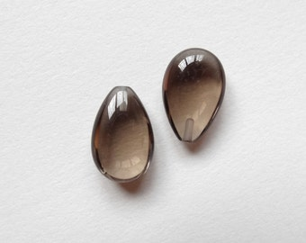 Smoky Quartz Half Top Drilled Smooth Petal Flat Drops 10x15x6 mm One Pair  Perfect for earrings J6528
