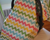 Pastel Chevron and Green Minky Baby Girl Car Seat Canopy