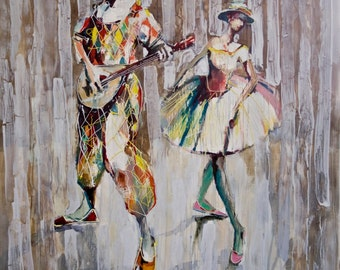 Duet 2008      Original oil painting print on Stretched canvas Fine Art print Herliquine and Columbine
