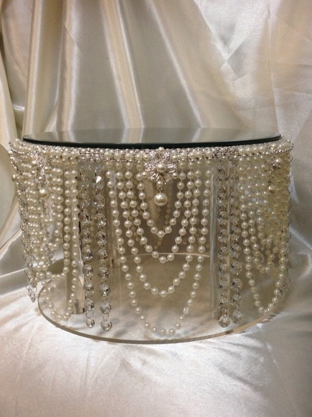 Vintage Inspired Pearl amp Crystal Design Wedding Cake Stand