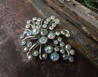 Vintage BSK Rhinestone Aurora Borealis AB Pin Brooch Irridescent Beads