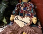 Prairie Doll with Heart and Key, Faceless Primitive Country Doll