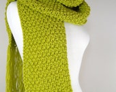 Chunky Knit Scarf with Fringe In Lime Green