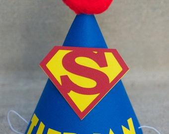 Superhero Inspired Birthday Party Hat  - Personalized for birthday child