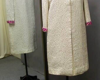 Vintage 1960's Jackie Kennedy Style, 2-Piece Off-White Brocade Dress and Coat